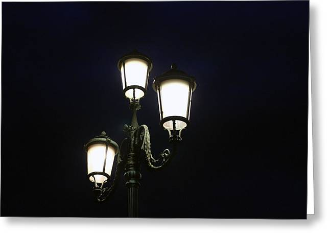 Night Lamp Greeting Cards - Street Lamps  Greeting Card by James  Wasdell