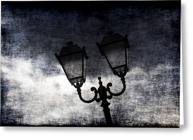Overcast Day Greeting Cards - Street Lantern Greeting Card by Samir Hanusa