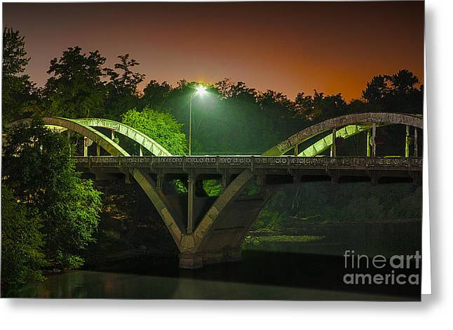 Sunset Prints Greeting Cards - Street Light On Rogue River Bridge Greeting Card by Jerry Cowart
