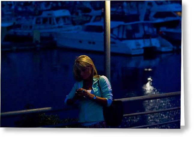 Street Light Texting Greeting Card by Tom Dowd