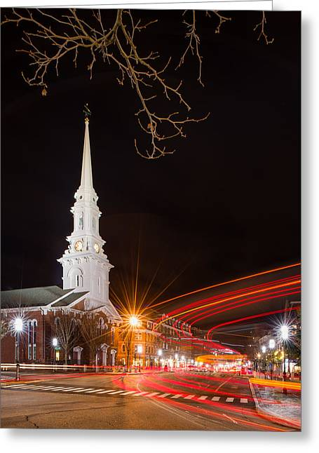 Street Lights Greeting Card by Michael Blanchette