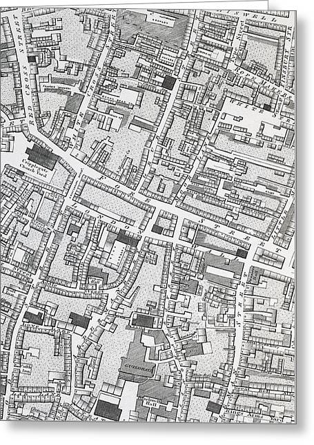 Street Map Of London Around Guildhall Greeting Card by Richard Horwood