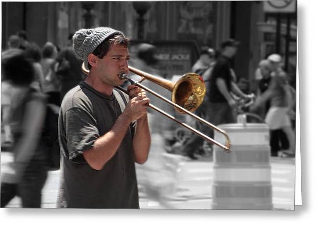 Selective Colouring Photographs Greeting Cards - Street Music Greeting Card by Graham Ettridge