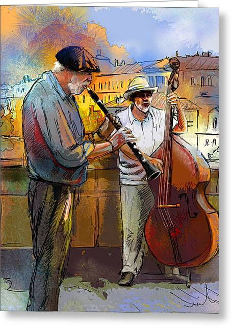 Street Musicians In Prague In The Czech Republic 01 Greeting Card by Miki De Goodaboom