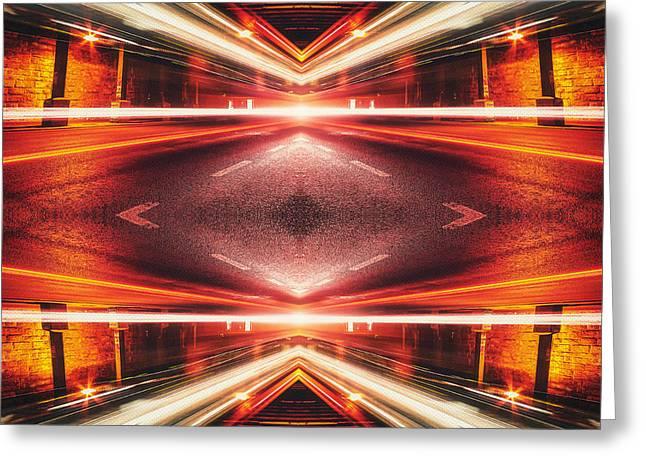 Long Street Greeting Cards - Street Night Light XTFORCE-TB Greeting Card by Philipp Rietz