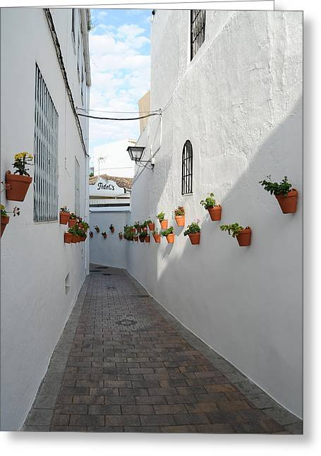Tetyana Kokhanets Greeting Cards - Street Of Benalmadena Pueblo Greeting Card by Tetyana Kokhanets