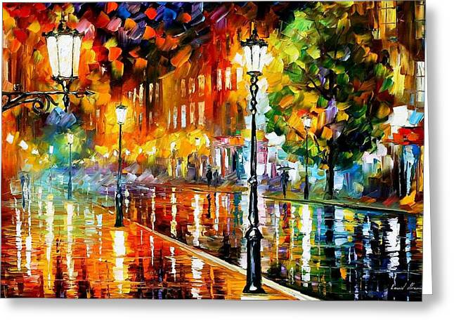 Contemporary Art Paintings Greeting Cards - Street Of Illusions - PALETTE KNIFE Oil Painting On Canvas By Leonid Afremov Greeting Card by Leonid Afremov