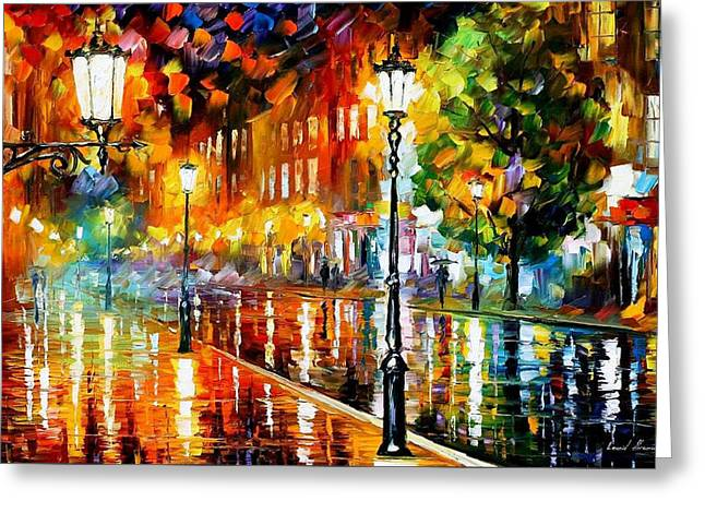 Landscape Pictures Greeting Cards - Street Of Illusions - PALETTE KNIFE Oil Painting On Canvas By Leonid Afremov Greeting Card by Leonid Afremov
