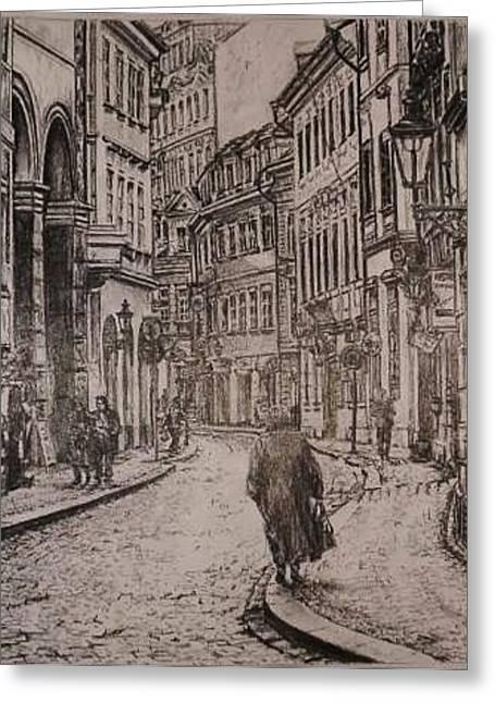 Prague Pastels Greeting Cards - Street of Prague Greeting Card by Gordana Dokic Segedin