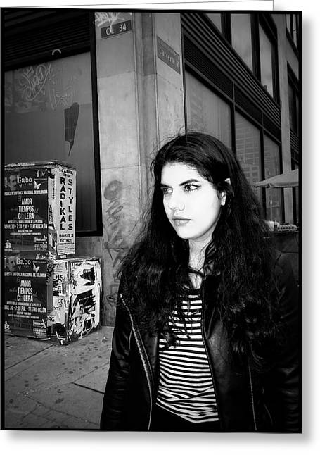 Walking Down The Street Greeting Cards - Street Portrait   #  32  Greeting Card by Daniel Gomez