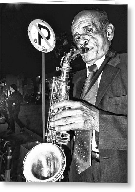 Session Musician Greeting Cards - Street Portrait   182 Greeting Card by Daniel Gomez