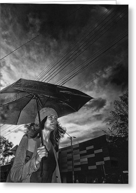 Solitariness Greeting Cards - Walking into the Dark Rain Greeting Card by Daniel Gomez