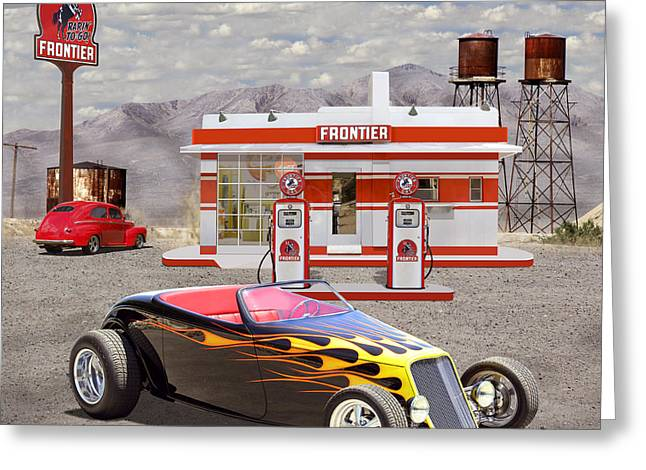 Service Station Greeting Cards - Street Rod At Frontier Station 2 Greeting Card by Mike McGlothlen