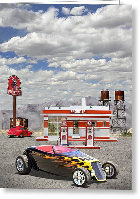 Service Station Greeting Cards - Street Rod at Frontier Station Greeting Card by Mike McGlothlen