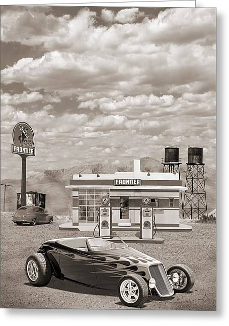 Ford Street Rod Greeting Cards - Street Rod At Frontier Station Sepia Greeting Card by Mike McGlothlen