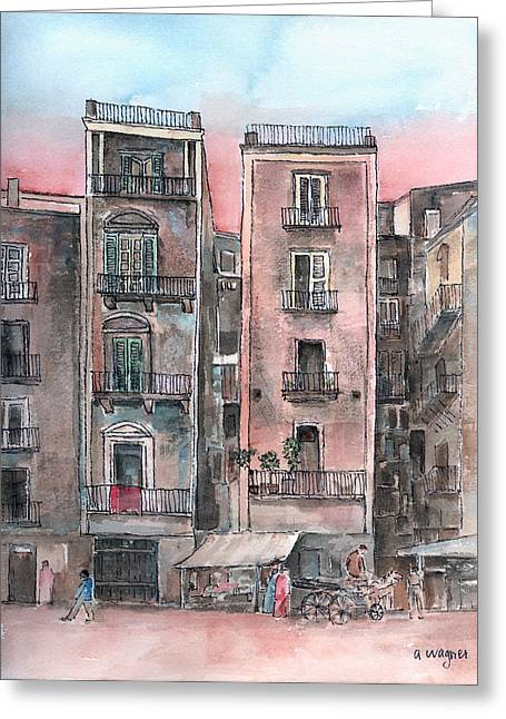 Street Scene At Twilight Greeting Card by Arline Wagner