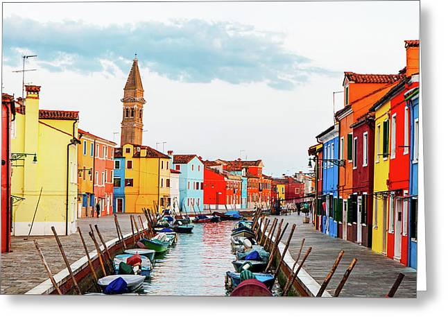 Street Scene In Burano Italy Greeting Card by Susan Schmitz