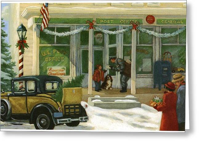 Christmas Scenes Greeting Cards - Street Scene In Small Town With People Greeting Card by Gillham Studios