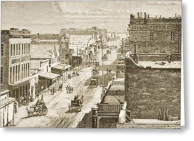 Street Scene In Virginia City, Nevada Greeting Card by Vintage Design Pics