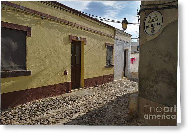 City Lights Greeting Cards - Street scene of Loule Old Town in Portugal Greeting Card by Angelo DeVal