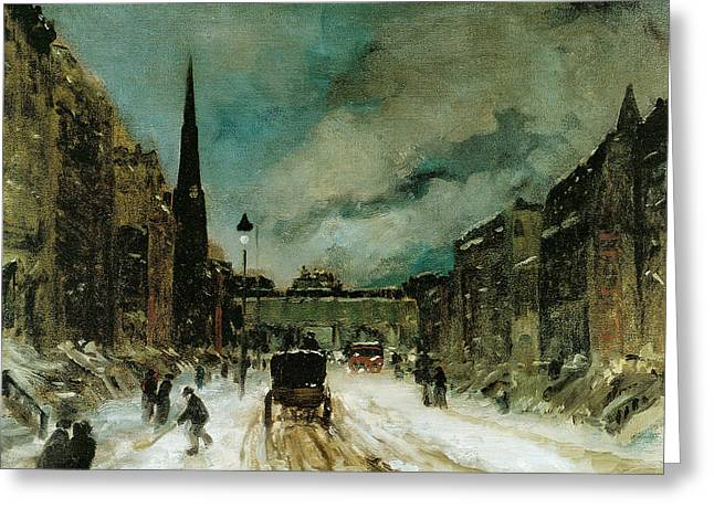 Vintage Painter Greeting Cards - Street Scene with Snow Greeting Card by Robert Henri