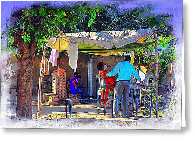 Saloons Greeting Cards - Street Scenes The Barber Exotic Travel Jaipur Rajasthan India 1a Greeting Card by Sue Jacobi