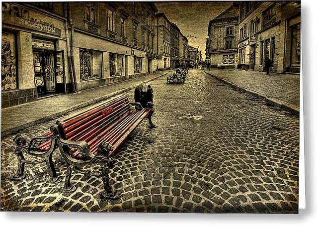 Bench Photographs Greeting Cards - Street Seat Greeting Card by Evelina Kremsdorf