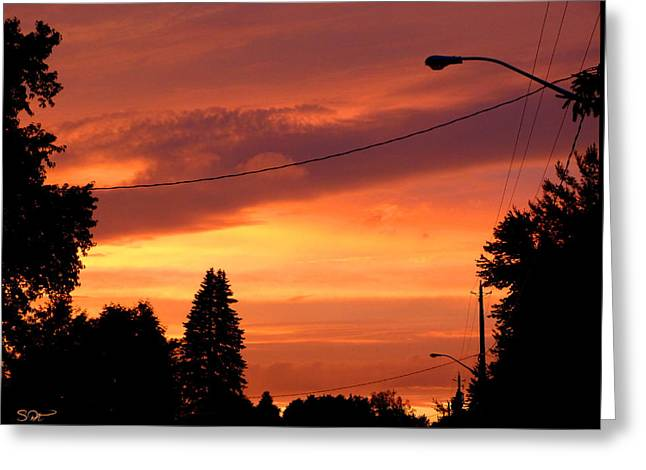 Fantasy Tree Greeting Cards - Street Silhouette Greeting Card by Stephen  Killeen