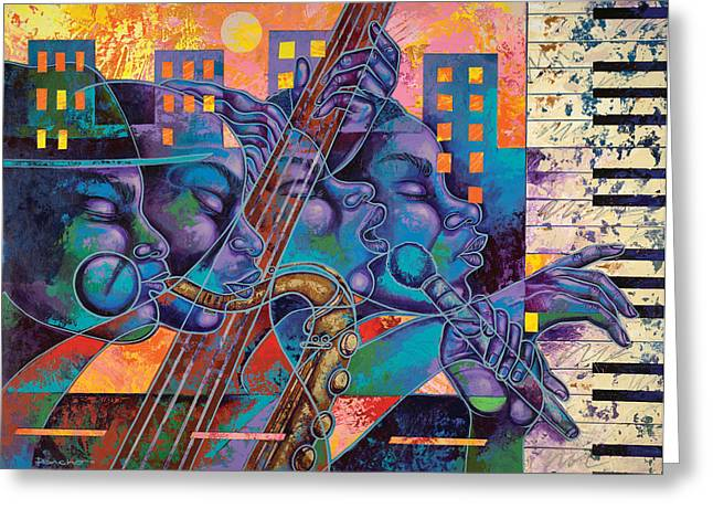 Urban Paintings Greeting Cards - Street Songs Greeting Card by Larry Poncho Brown