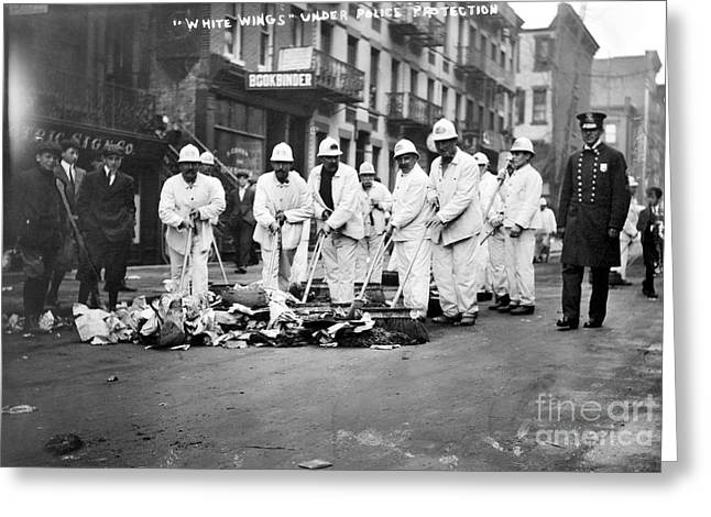 Street Sweeper Greeting Cards - Street Sweepers, 1911 Greeting Card by Granger