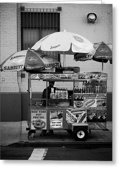 New York City Fire Escapes Greeting Cards - Street Vendor Greeting Card by Darren Martin