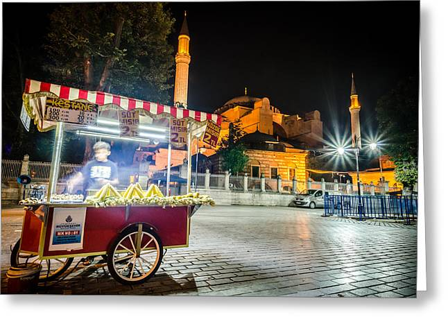 Exposure Greeting Cards - Street Vendor in Front of Aya Sofia Greeting Card by Anthony Doudt
