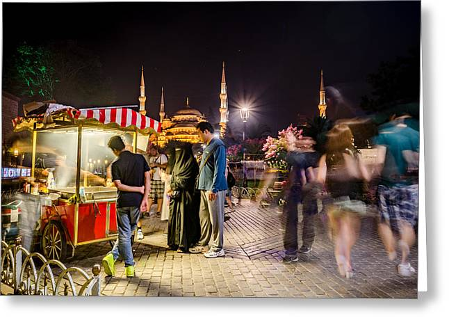 Exposure Greeting Cards - Street Vendor in Front of the Blue Mosque Greeting Card by Anthony Doudt