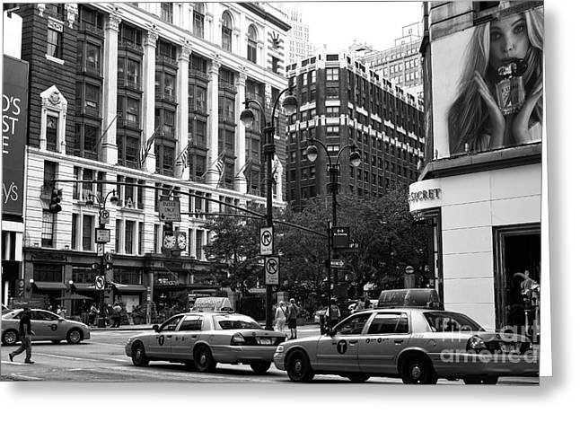 Victoria Johns Greeting Cards - Street Walking in New York City mono Greeting Card by John Rizzuto