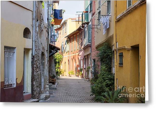 Stepping Stones Greeting Cards - Street with sunshine in Villefranche-sur-Mer Greeting Card by Elena Elisseeva