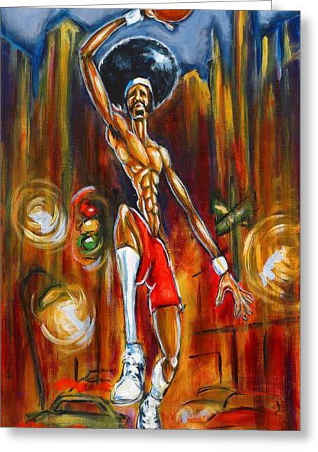 Basketball Player Paintings Greeting Cards - Streetball Greeting Card by Daryl Price