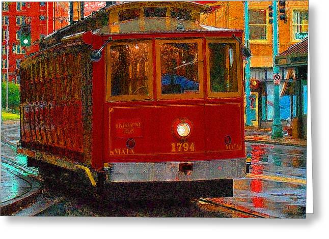 Tram Photographs Greeting Cards - Streetcar in Memphis Greeting Card by Don Wolf