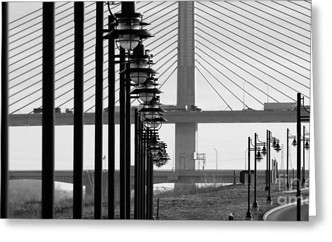 Streetlight Greeting Cards - Streetlights and Bridges  5765 Greeting Card by Jack Schultz