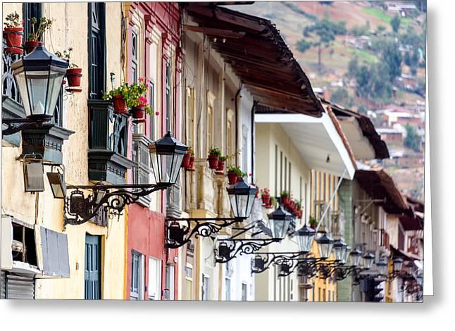 Streetlight Greeting Cards - Streetlights in Cajamarca Peru Greeting Card by Jess Kraft
