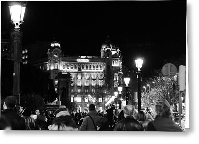 Streetlight Greeting Cards - Streets of Barcelona at night Greeting Card by Andrea Mazzocchetti