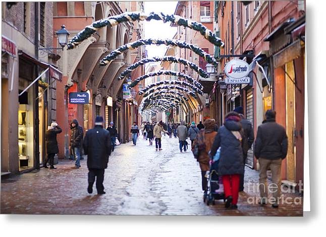 Police Art Greeting Cards - Streets of Bologna Greeting Card by Andre Goncalves