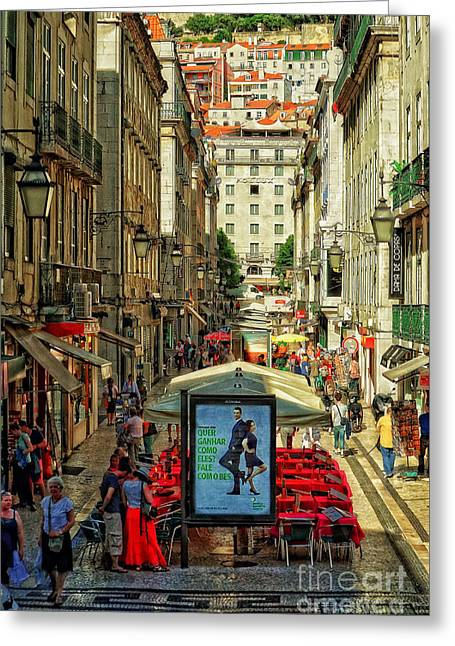 Streets Of Lisbon 3 Greeting Card by Mary Machare