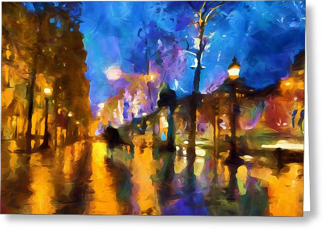 Paris In Lights Greeting Cards - Streets Of Paris By Night Abstract Greeting Card by Georgiana Romanovna