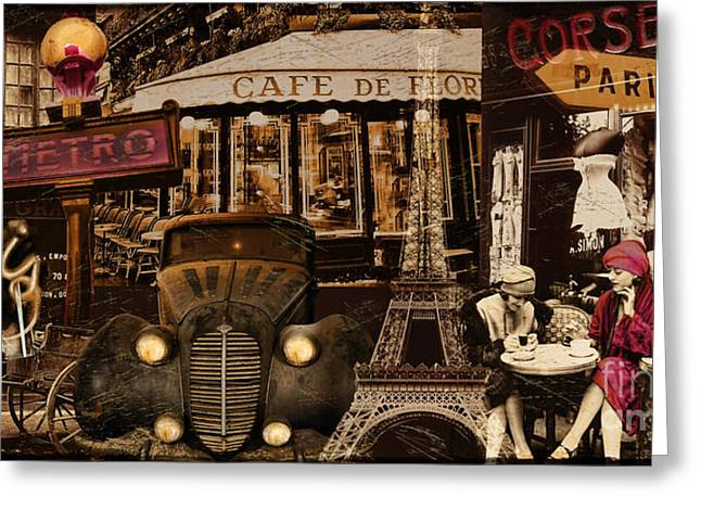 Vintage Paris Greeting Cards - Streets of Paris Greeting Card by Mindy Sommers