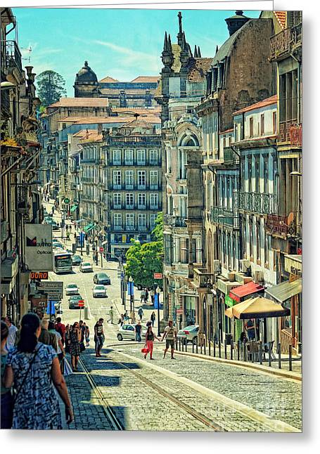 Summer Awnings Greeting Cards - Streets of Porto - Portugal 2  Greeting Card by Mary Machare