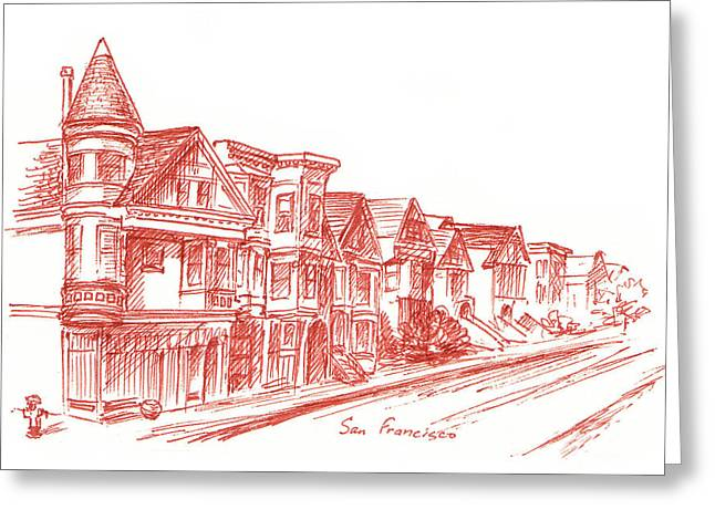 Ink Drawing Greeting Cards - Streets Of San Francisco Fulton St Greeting Card by Irina Sztukowski
