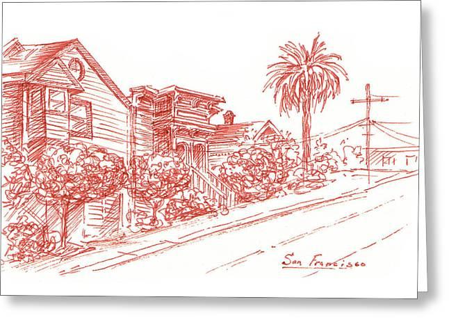 Ink Drawing Greeting Cards - Streets of San Francisco Richmond District Greeting Card by Irina Sztukowski