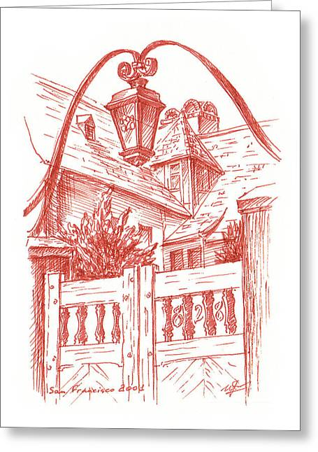 San Francisco Bay Drawings Greeting Cards - Streets Of San Francisco Russian Hill Greeting Card by Irina Sztukowski