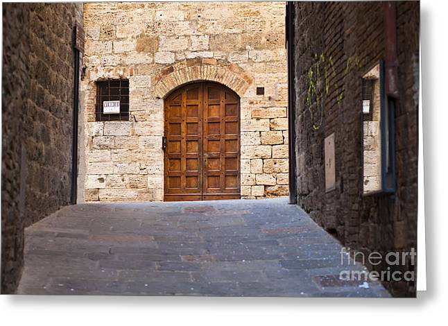 Streets of San Gimignano Greeting Card by Andre Goncalves
