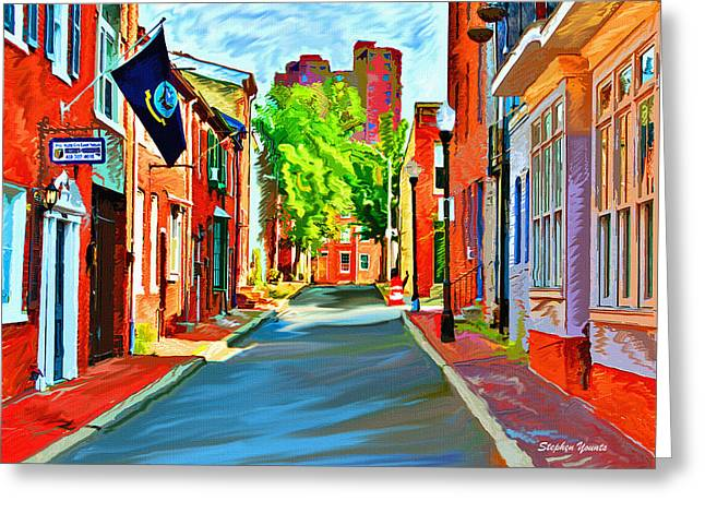 Cafe City Lights Greeting Cards - Streetscape in Federal Hill Greeting Card by Stephen Younts